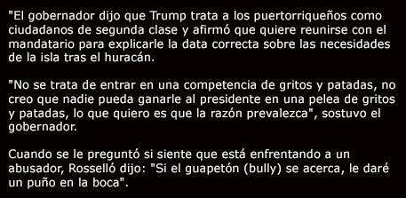 Gobernador Rosello amenaza a Trump